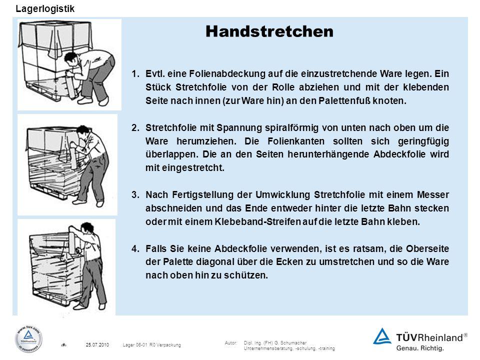 Autor:Dipl. Ing. (FH) G. Schumacher Unternehmensberatung, -schulung, -training 16Lager 06-01 R0 Verpackung25.07.2010 Lagerlogistik 1. Evtl. eine Folie