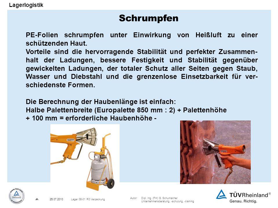 Autor:Dipl. Ing. (FH) G. Schumacher Unternehmensberatung, -schulung, -training 17Lager 06-01 R0 Verpackung25.07.2010 Lagerlogistik PE-Folien schrumpfe