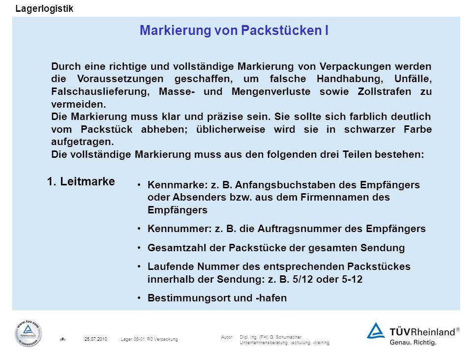 Autor:Dipl. Ing. (FH) G. Schumacher Unternehmensberatung, -schulung, -training 18Lager 06-01 R0 Verpackung25.07.2010 Lagerlogistik Markierung von Pack