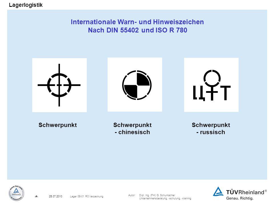 Autor:Dipl. Ing. (FH) G. Schumacher Unternehmensberatung, -schulung, -training 22Lager 06-01 R0 Verpackung25.07.2010 Lagerlogistik Schwerpunkt - chine