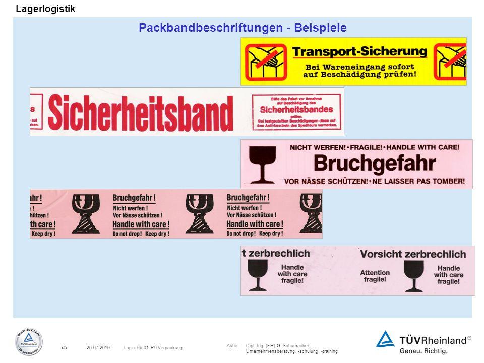 Autor:Dipl. Ing. (FH) G. Schumacher Unternehmensberatung, -schulung, -training 23Lager 06-01 R0 Verpackung25.07.2010 Lagerlogistik Packbandbeschriftun
