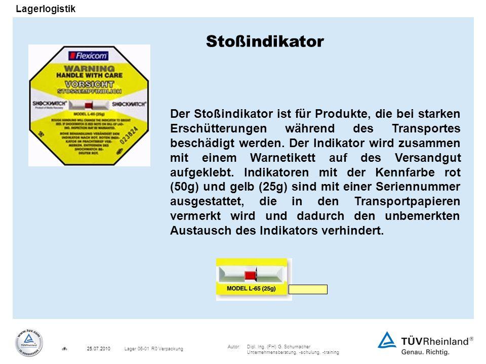 Autor:Dipl. Ing. (FH) G. Schumacher Unternehmensberatung, -schulung, -training 24Lager 06-01 R0 Verpackung25.07.2010 Lagerlogistik Der Stoßindikator i