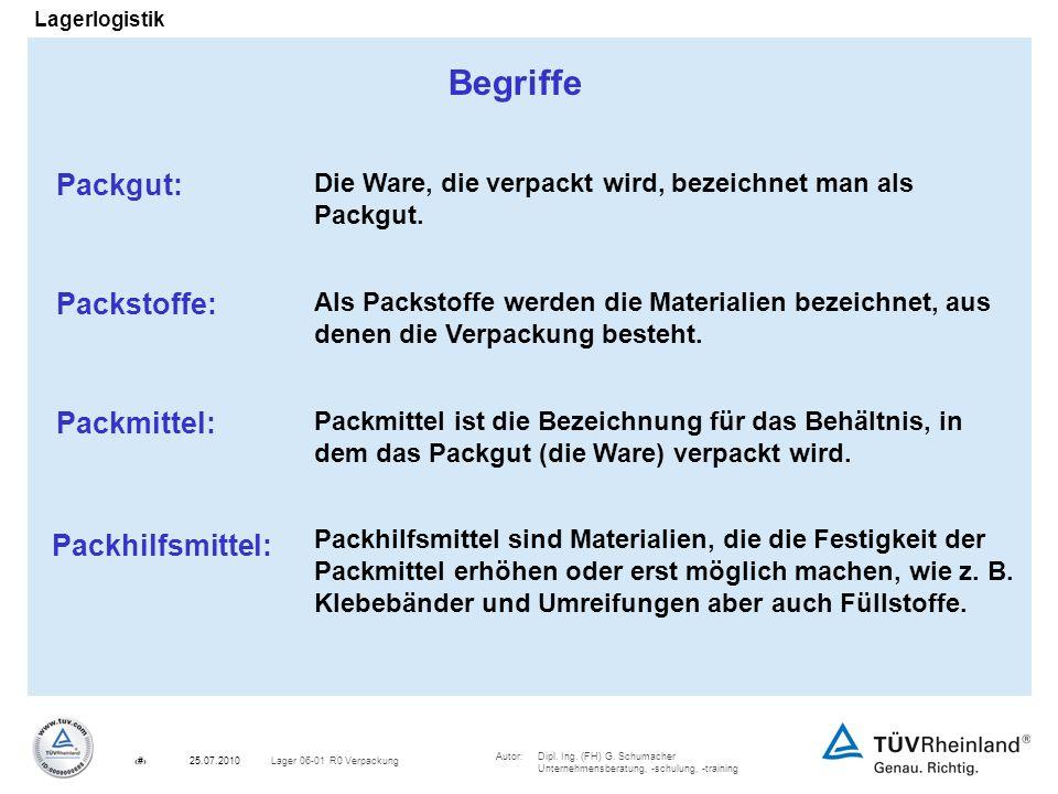 Autor:Dipl. Ing. (FH) G. Schumacher Unternehmensberatung, -schulung, -training 3Lager 06-01 R0 Verpackung25.07.2010 Lagerlogistik Begriffe Packgut: Di