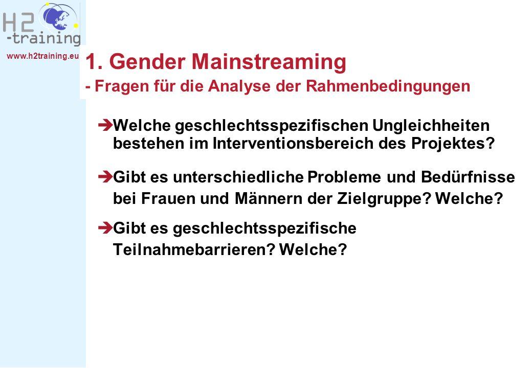 www.h2training.eu 1. Gender Mainstreaming - Fragen für die Analyse der Rahmenbedingungen Welche geschlechtsspezifischen Ungleichheiten bestehen im Int