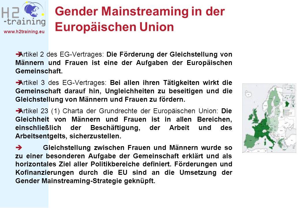 www.h2training.eu Gender Mainstreaming in der Europäischen Union Artikel 2 des EG-Vertrages: Die Förderung der Gleichstellung von Männern und Frauen i