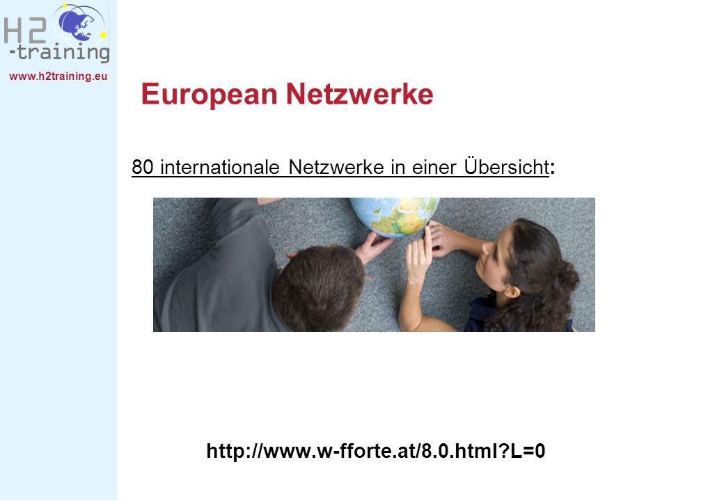 www.h2training.eu European Netzwerke 80 internationale Netzwerke in einer Übersicht: http://www.w-fforte.at/8.0.html?L=0