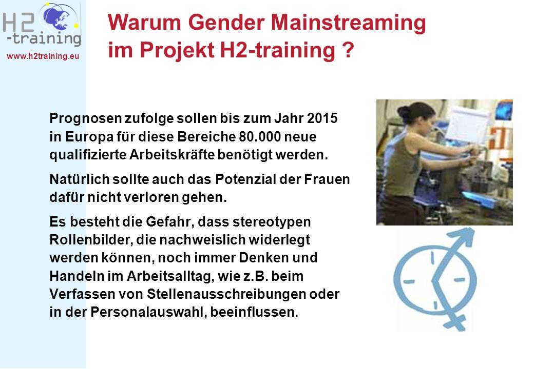 www.h2training.eu Warum Gender Mainstreaming im Projekt H2-training ? Prognosen zufolge sollen bis zum Jahr 2015 in Europa für diese Bereiche 80.000 n