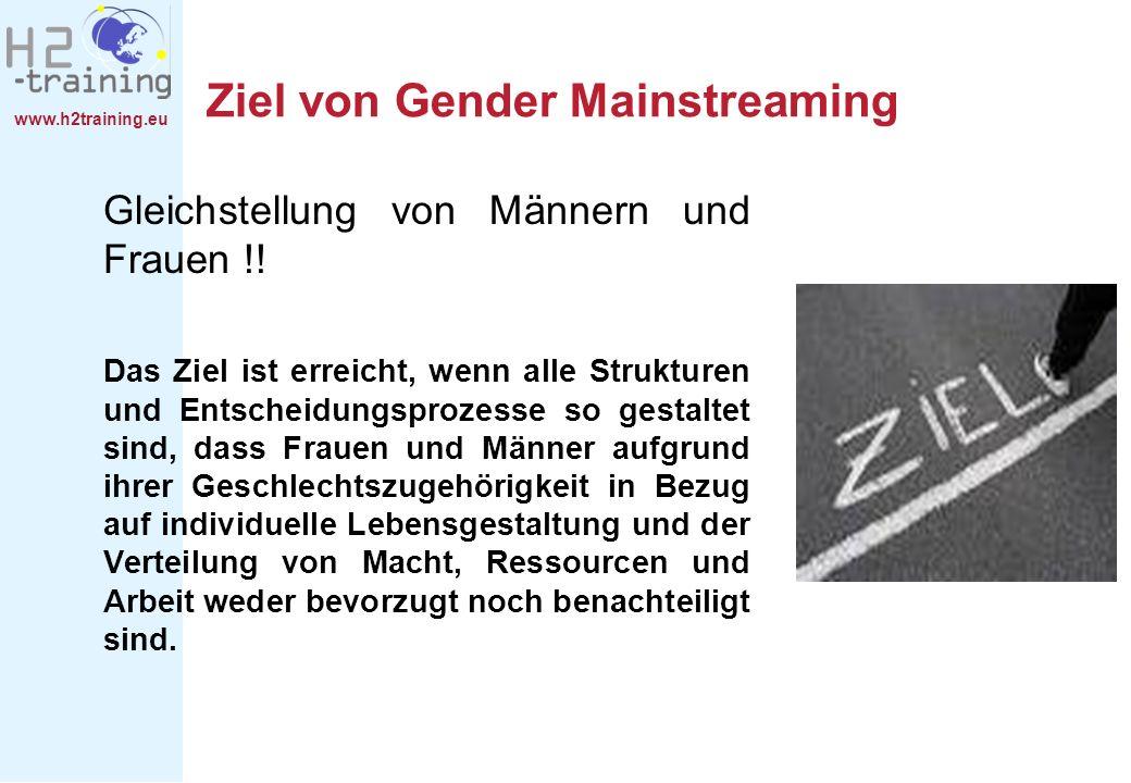 www.h2training.eu Ziel von Gender Mainstreaming Gleichstellung von Männern und Frauen !! Das Ziel ist erreicht, wenn alle Strukturen und Entscheidungs