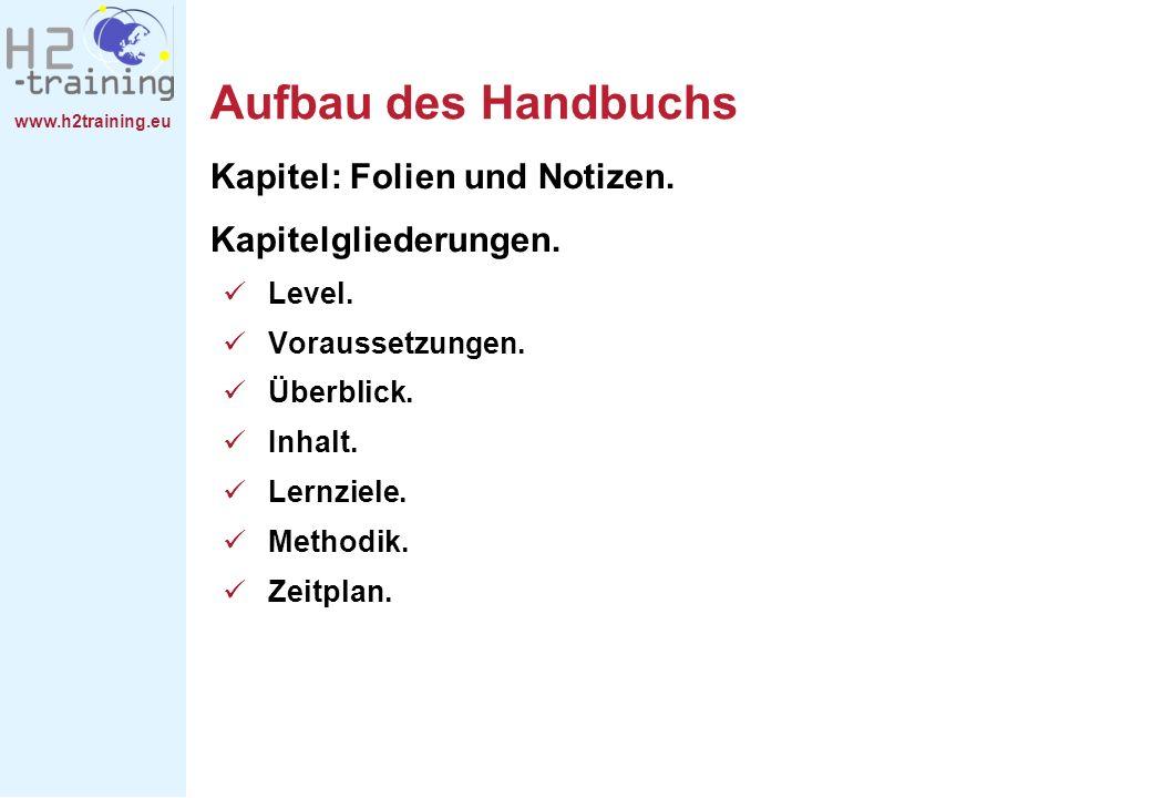 www.h2training.eu Aufbau des Handbuchs Kapitel: Folien und Notizen. Kapitelgliederungen. Level. Voraussetzungen. Überblick. Inhalt. Lernziele. Methodi