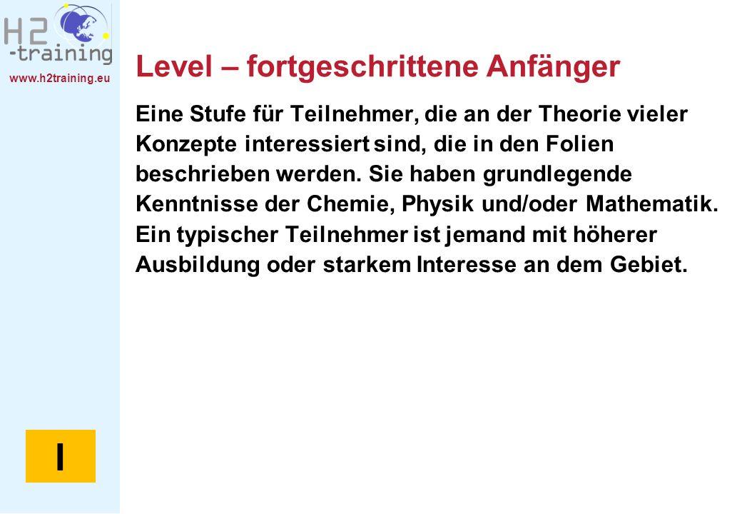 www.h2training.eu Level – fortgeschrittene Anfänger Eine Stufe für Teilnehmer, die an der Theorie vieler Konzepte interessiert sind, die in den Folien beschrieben werden.