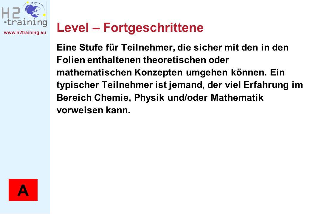 www.h2training.eu Level – Fortgeschrittene Eine Stufe für Teilnehmer, die sicher mit den in den Folien enthaltenen theoretischen oder mathematischen Konzepten umgehen können.