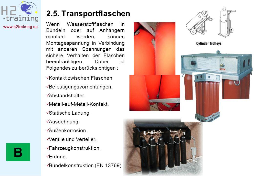 www.h2training.eu 2.5. Transportflaschen Wenn Wasserstoffflaschen in Bündeln oder auf Anhängern montiert werden, können Montagespannung in Verbindung