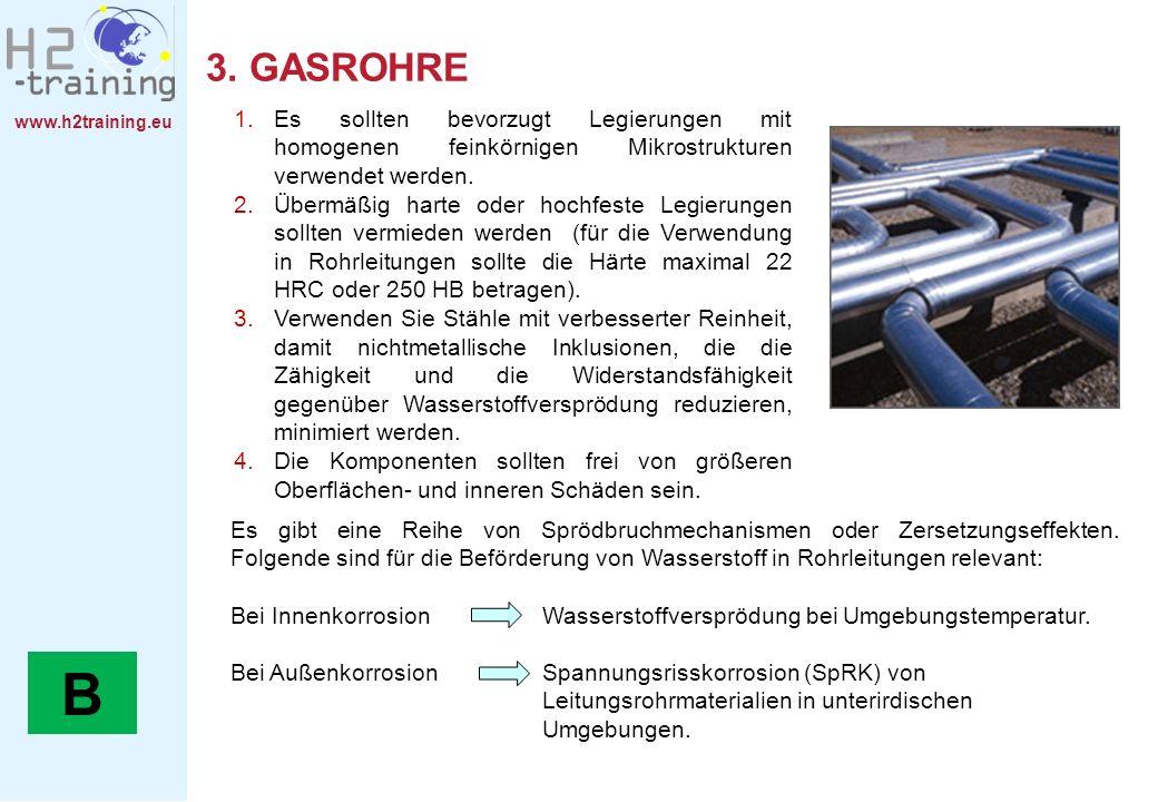 www.h2training.eu 3. GASROHRE 1.Es sollten bevorzugt Legierungen mit homogenen feinkörnigen Mikrostrukturen verwendet werden. 2.Übermäßig harte oder h