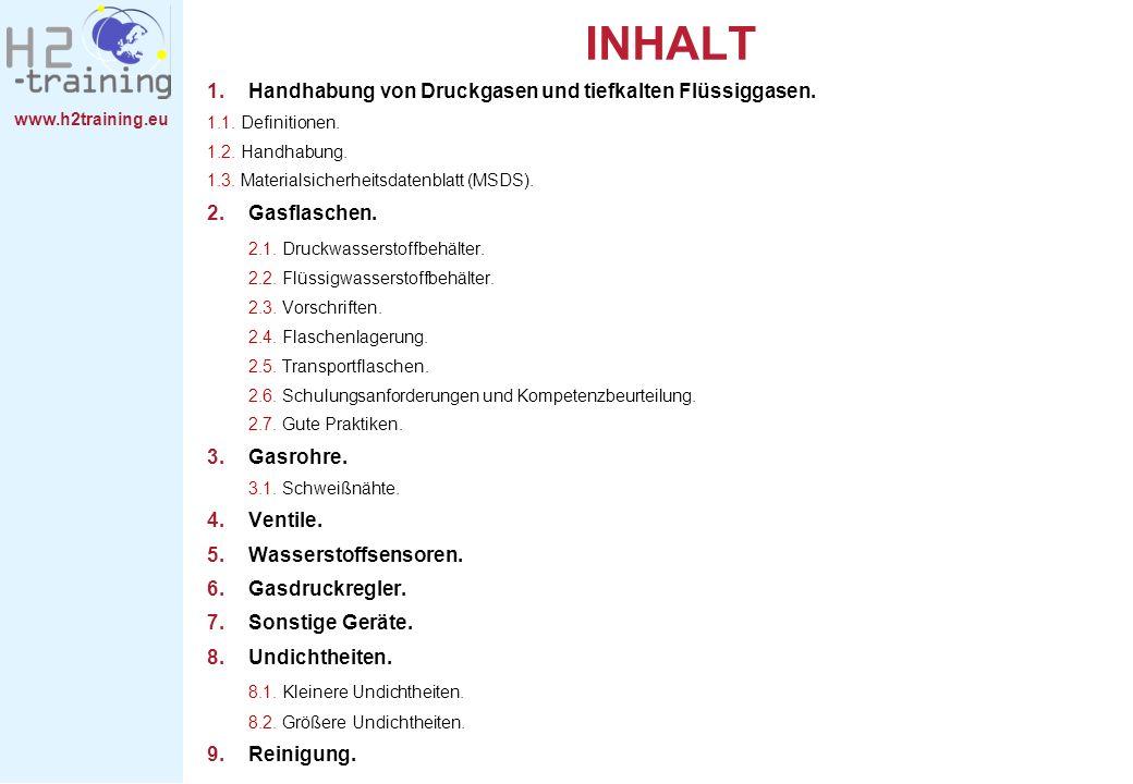 www.h2training.eu INHALT 1.Handhabung von Druckgasen und tiefkalten Flüssiggasen. 1.1. Definitionen. 1.2. Handhabung. 1.3. Materialsicherheitsdatenbla
