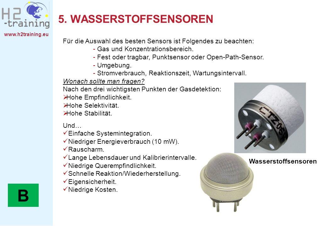 www.h2training.eu 5. WASSERSTOFFSENSOREN Für die Auswahl des besten Sensors ist Folgendes zu beachten: - Gas und Konzentrationsbereich. - Fest oder tr