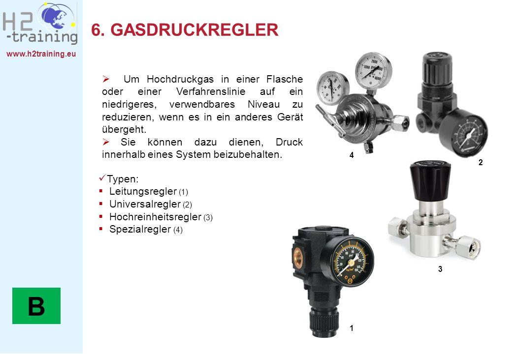 www.h2training.eu 6. GASDRUCKREGLER Typen: Leitungsregler (1) Universalregler (2) Hochreinheitsregler (3) Spezialregler (4) Um Hochdruckgas in einer F