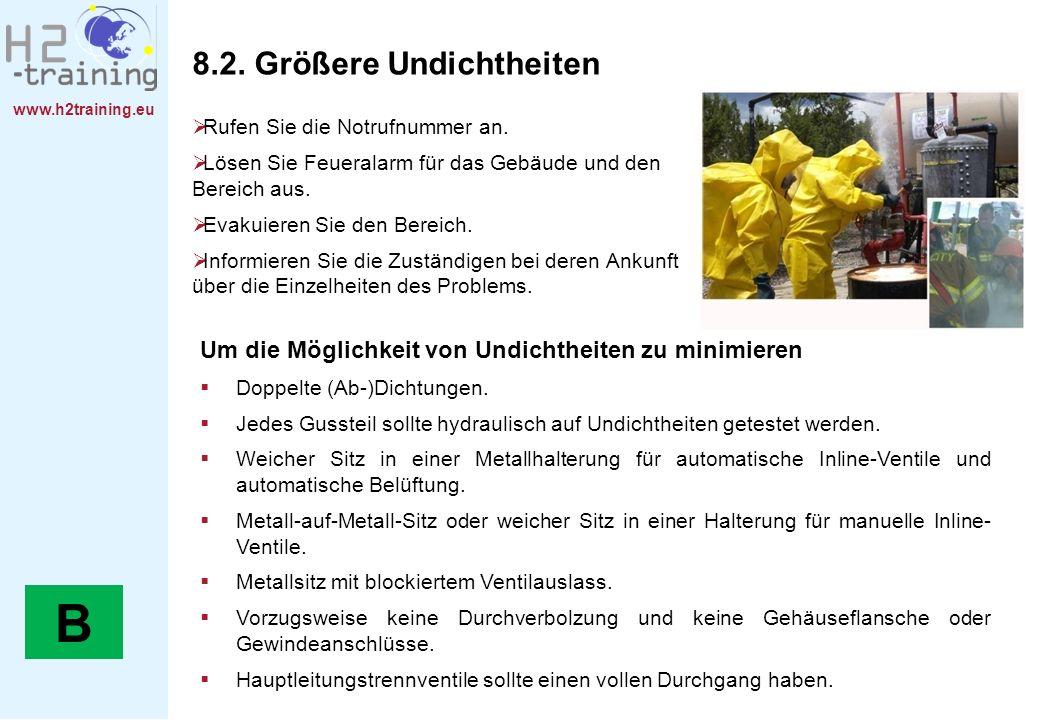 www.h2training.eu 8.2. Größere Undichtheiten Rufen Sie die Notrufnummer an. Lösen Sie Feueralarm für das Gebäude und den Bereich aus. Evakuieren Sie d