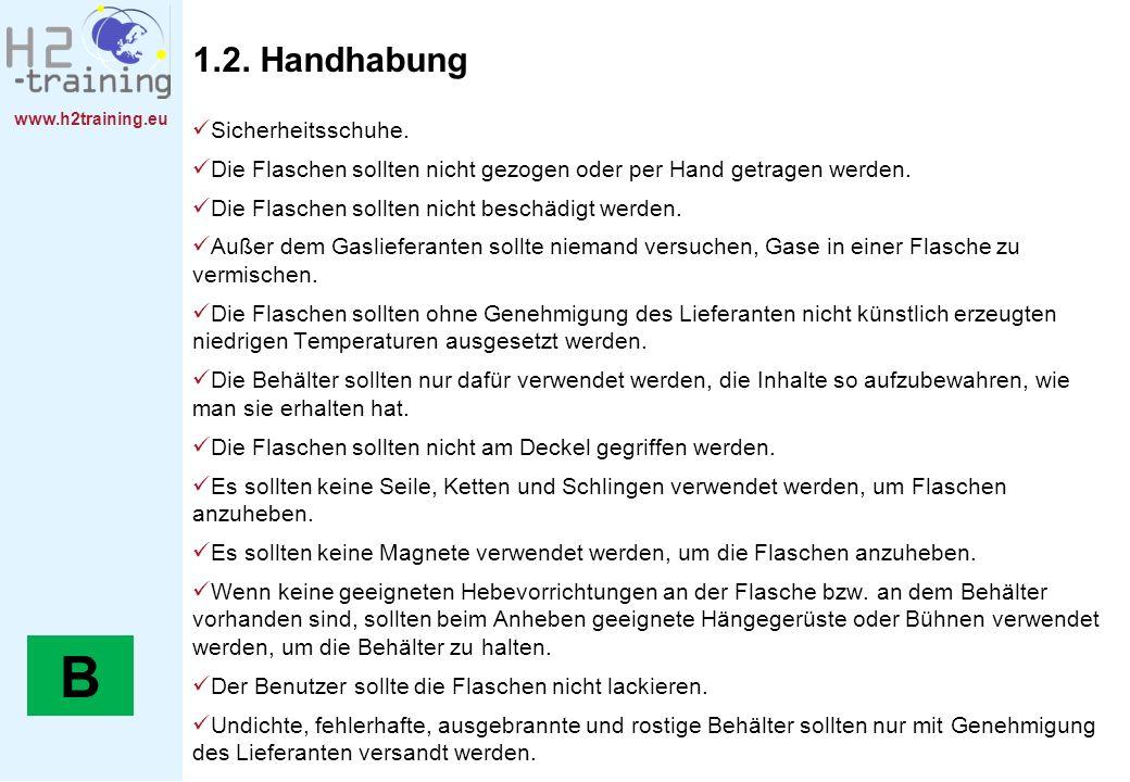 www.h2training.eu 1.2. Handhabung Sicherheitsschuhe. Die Flaschen sollten nicht gezogen oder per Hand getragen werden. Die Flaschen sollten nicht besc