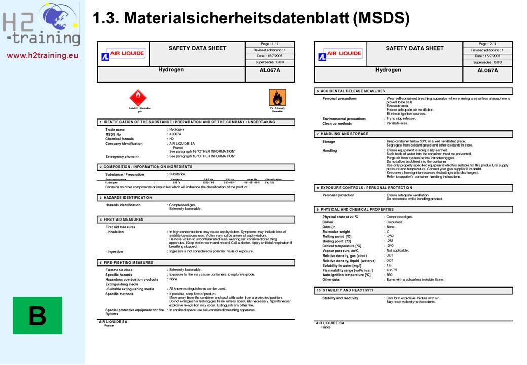 www.h2training.eu 1.3. Materialsicherheitsdatenblatt (MSDS) B