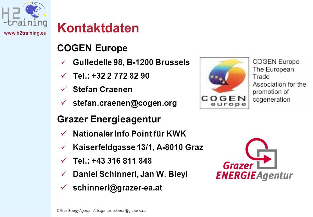 www.h2training.eu © Graz Energy Agency - Anfragen an: schinnerl@grazer-ea.at Kontaktdaten COGEN Europe Gulledelle 98, B-1200 Brussels Tel.: +32 2 772