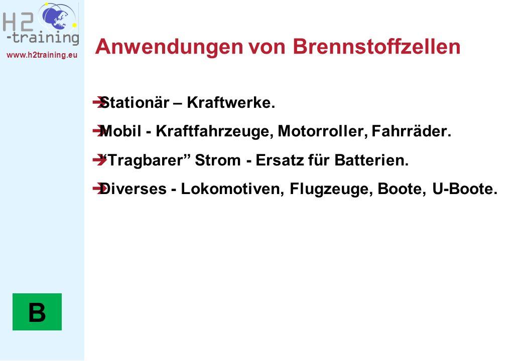 www.h2training.eu Anwendungen von Brennstoffzellen Stationär – Kraftwerke. Mobil - Kraftfahrzeuge, Motorroller, Fahrräder. Tragbarer Strom - Ersatz fü