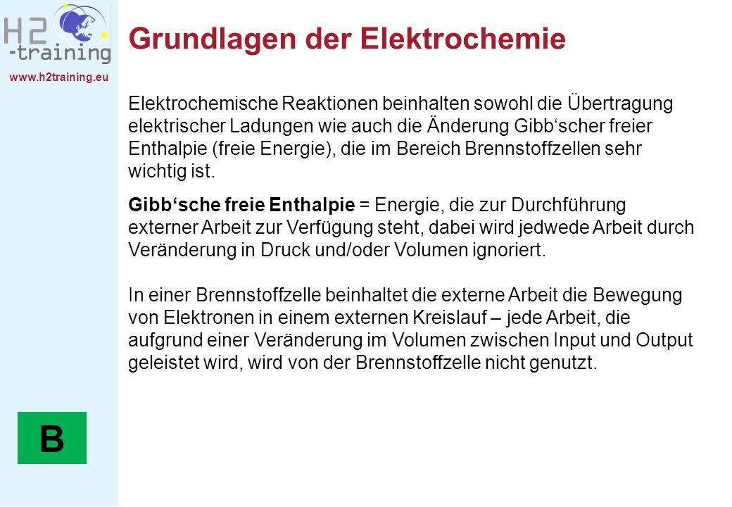 www.h2training.eu Grundlagen der Elektrochemie Elektrochemische Reaktionen beinhalten sowohl die Übertragung elektrischer Ladungen wie auch die Änderu