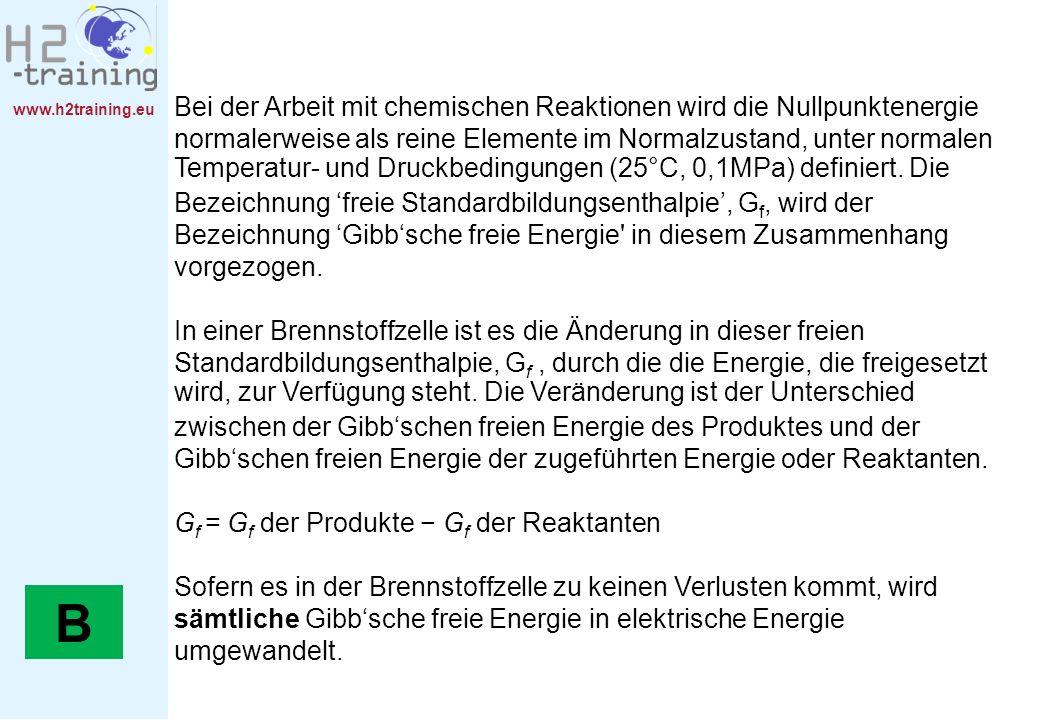 www.h2training.eu Bei der Arbeit mit chemischen Reaktionen wird die Nullpunktenergie normalerweise als reine Elemente im Normalzustand, unter normalen