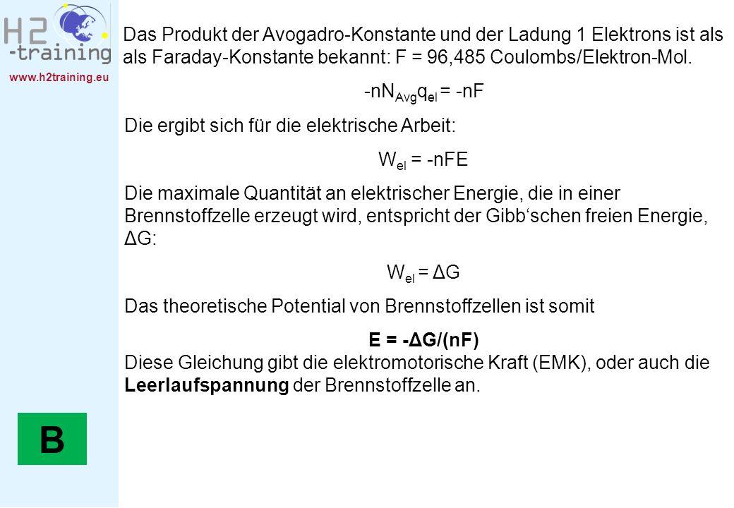 www.h2training.eu Das Produkt der Avogadro-Konstante und der Ladung 1 Elektrons ist als als Faraday-Konstante bekannt: F = 96,485 Coulombs/Elektron-Mo