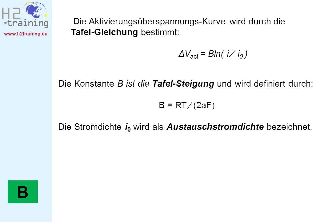 www.h2training.eu Die Aktivierungsüberspannungs-Kurve wird durch die Tafel-Gleichung bestimmt: ΔV act = Bln( i i 0 ) Die Konstante B ist die Tafel-Ste