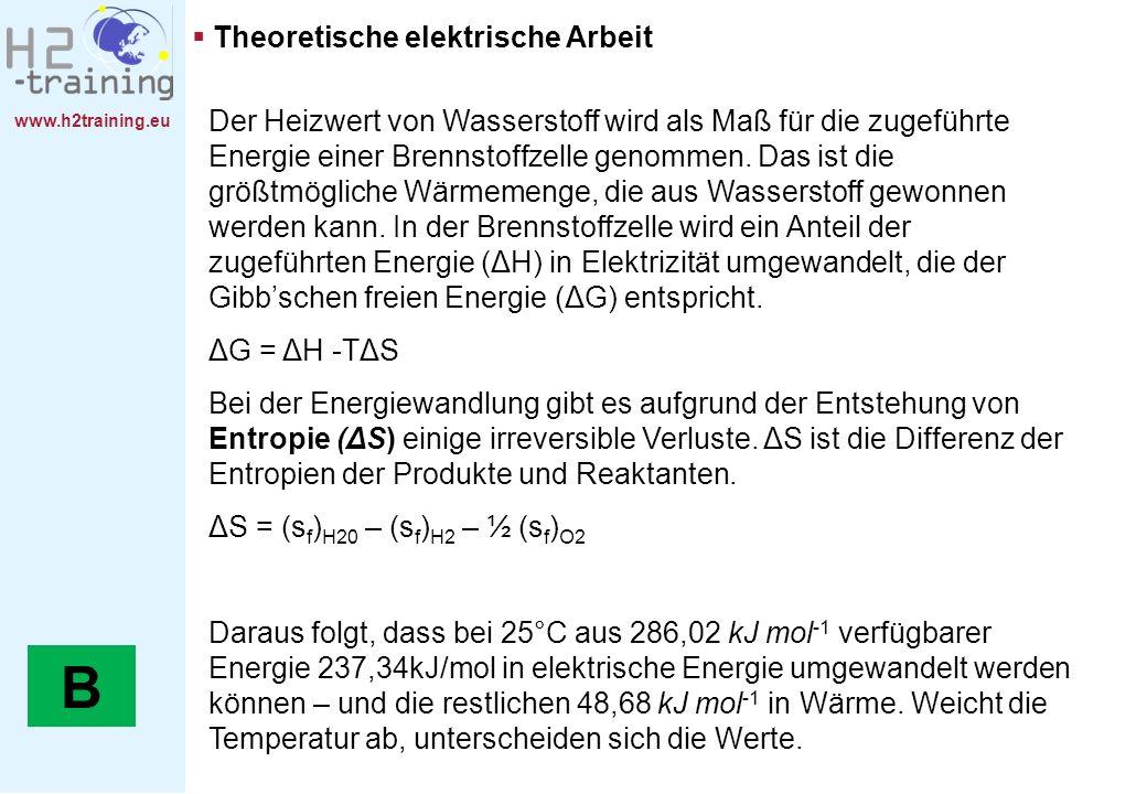 www.h2training.eu Theoretische elektrische Arbeit Der Heizwert von Wasserstoff wird als Maß für die zugeführte Energie einer Brennstoffzelle genommen.