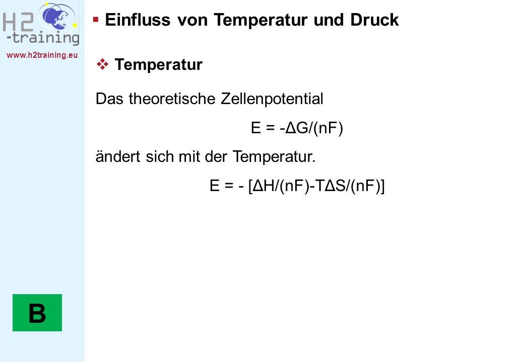 www.h2training.eu Einfluss von Temperatur und Druck Temperatur Das theoretische Zellenpotential E = -ΔG/(nF) ändert sich mit der Temperatur. E = - [ΔH