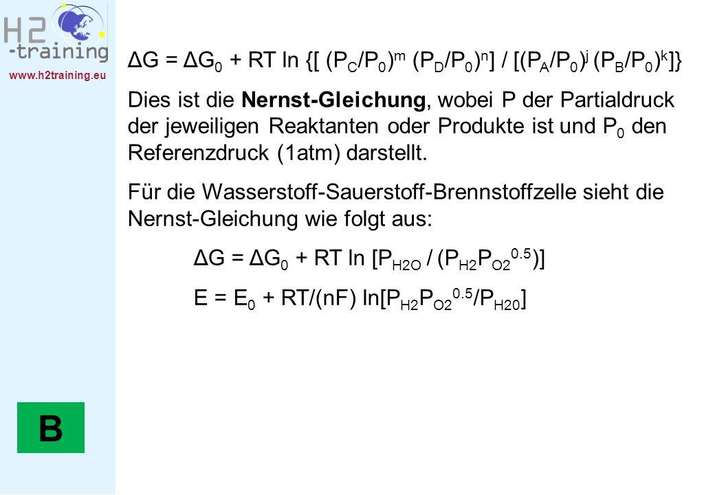 www.h2training.eu ΔG = ΔG 0 + RT ln {[ (P C /P 0 ) m (P D /P 0 ) n ] / [(P A /P 0 ) j (P B /P 0 ) k ]} Dies ist die Nernst-Gleichung, wobei P der Part