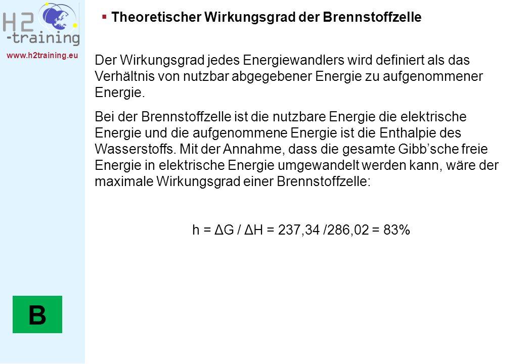 www.h2training.eu Theoretischer Wirkungsgrad der Brennstoffzelle Der Wirkungsgrad jedes Energiewandlers wird definiert als das Verhältnis von nutzbar