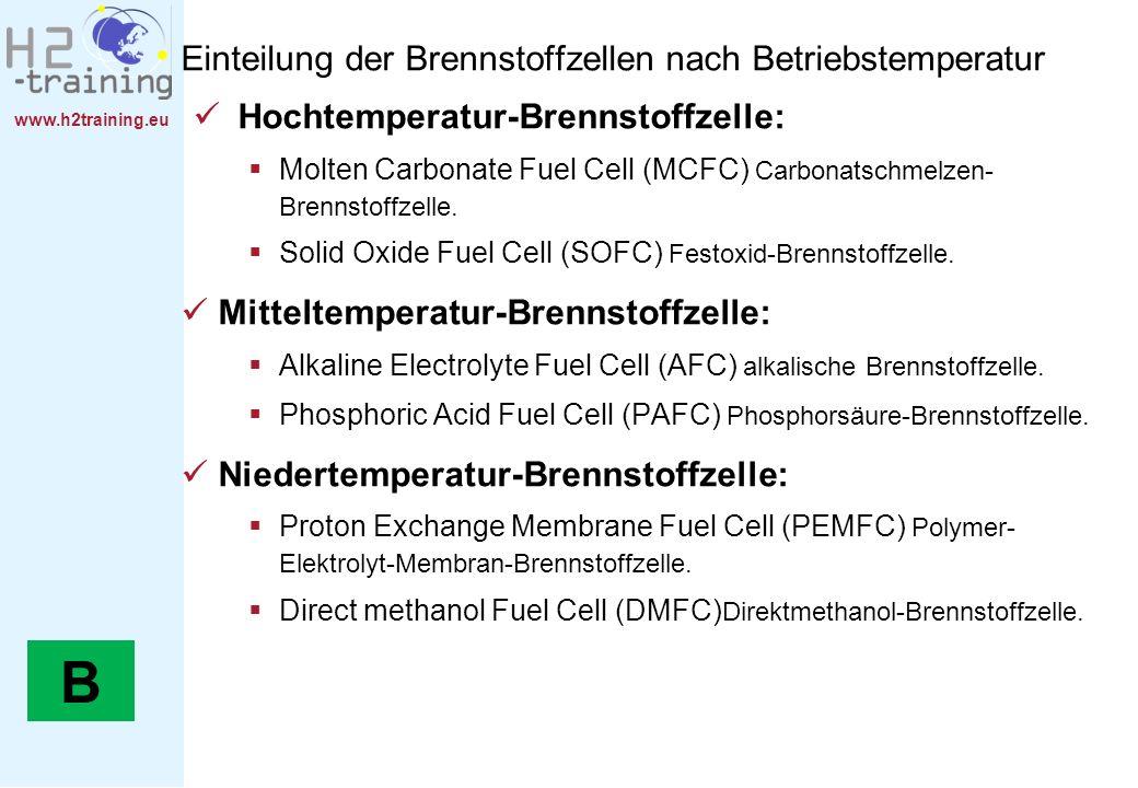 www.h2training.eu Einteilung der Brennstoffzellen nach Betriebstemperatur Hochtemperatur-Brennstoffzelle: Molten Carbonate Fuel Cell (MCFC) Carbonatsc