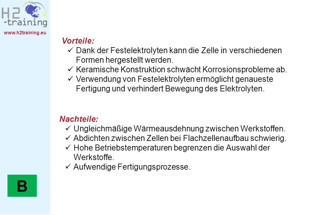 www.h2training.eu Vorteile: Dank der Festelektrolyten kann die Zelle in verschiedenen Formen hergestellt werden. Keramische Konstruktion schwächt Korr
