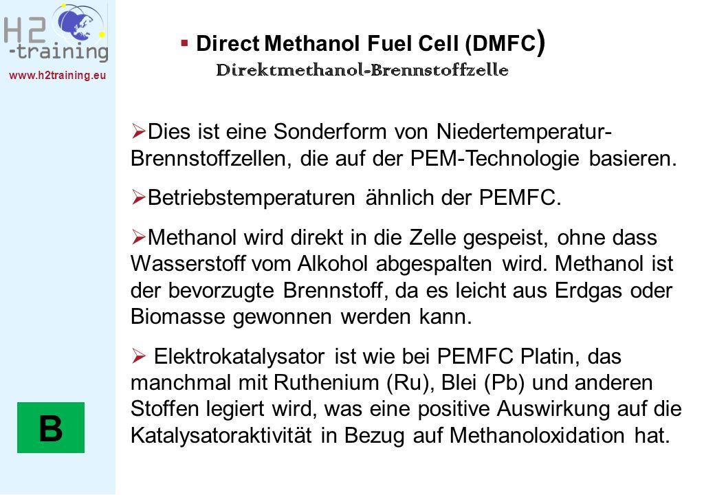 www.h2training.eu Direct Methanol Fuel Cell (DMFC ) Direktmethanol-Brennstoffzelle Dies ist eine Sonderform von Niedertemperatur- Brennstoffzellen, di