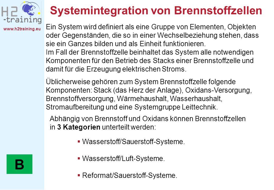 www.h2training.eu Systemintegration von Brennstoffzellen Ein System wird definiert als eine Gruppe von Elementen, Objekten oder Gegenständen, die so i