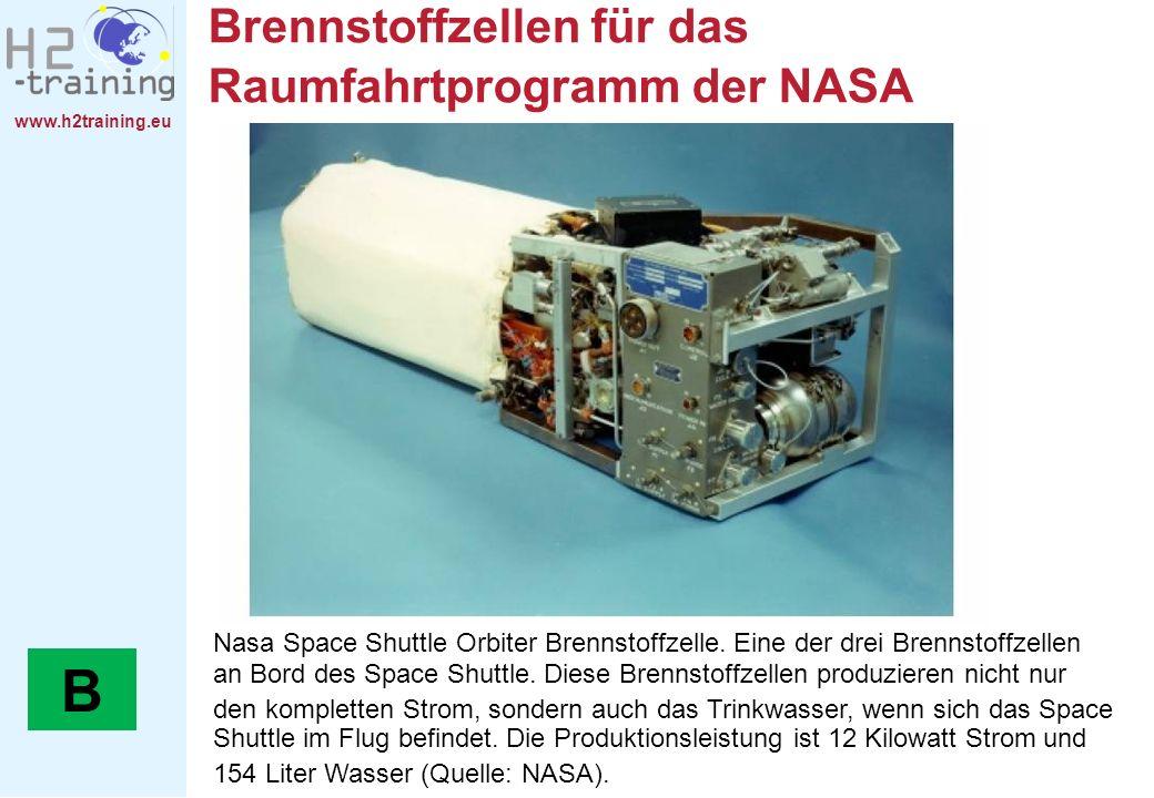 www.h2training.eu Brennstoffzellen für das Raumfahrtprogramm der NASA Nasa Space Shuttle Orbiter Brennstoffzelle. Eine der drei Brennstoffzellen an Bo