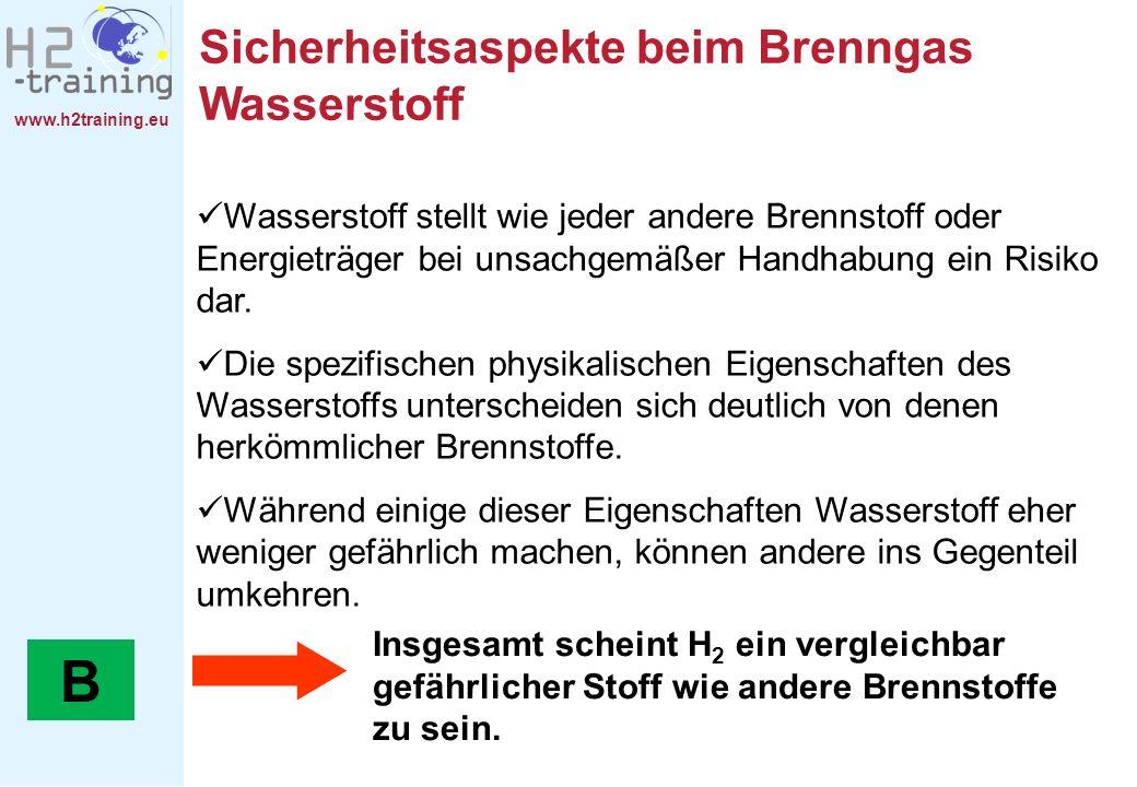 www.h2training.eu Sicherheitsaspekte beim Brenngas Wasserstoff Wasserstoff stellt wie jeder andere Brennstoff oder Energieträger bei unsachgemäßer Han