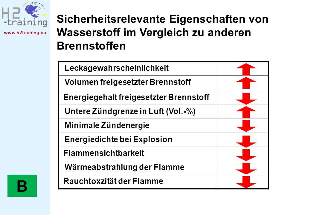 www.h2training.eu Leckagewahrscheinlichkeit Volumen freigesetzter Brennstoff Energiegehalt freigesetzter Brennstoff Untere Zündgrenze in Luft (Vol.-%)