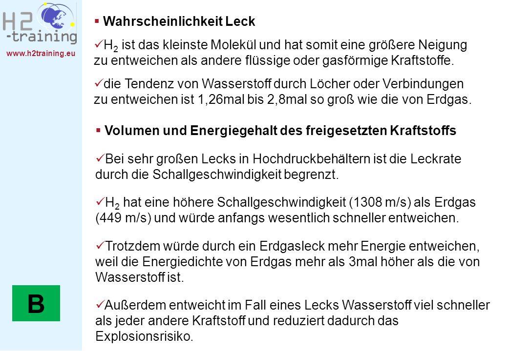 www.h2training.eu Volumen und Energiegehalt des freigesetzten Kraftstoffs Bei sehr großen Lecks in Hochdruckbehältern ist die Leckrate durch die Schal