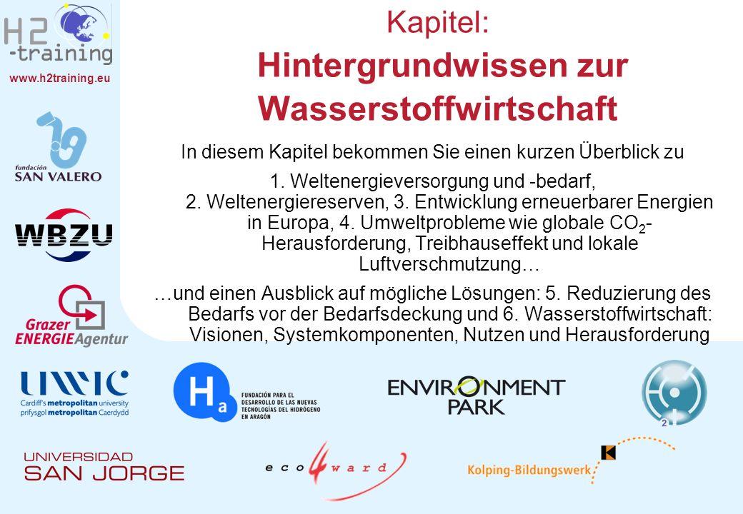 www.h2training.eu In diesem Kapitel bekommen Sie einen kurzen Überblick zu 1. Weltenergieversorgung und -bedarf, 2. Weltenergiereserven, 3. Entwicklun