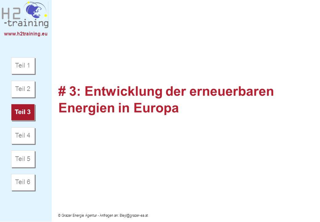 www.h2training.eu © Grazer Energie Agentur - Anfragen an: Bleyl@grazer-ea.at # 3: Entwicklung der erneuerbaren Energien in Europa Teil 1 Teil 2 Teil 3