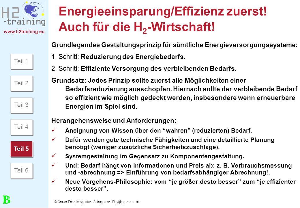www.h2training.eu © Grazer Energie Agentur - Anfragen an: Bleyl@grazer-ea.at Energieeinsparung/Effizienz zuerst! Auch für die H 2 -Wirtschaft! Grundle