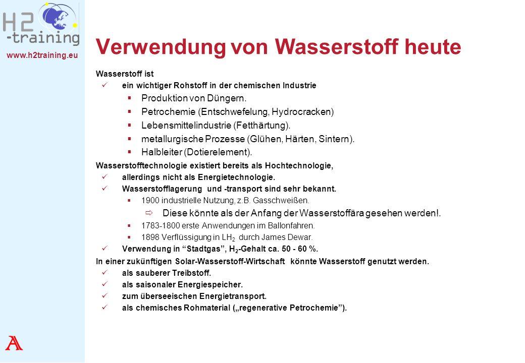 www.h2training.eu Verwendung von Wasserstoff heute Wasserstoff ist ein wichtiger Rohstoff in der chemischen Industrie Produktion von Düngern. Petroche