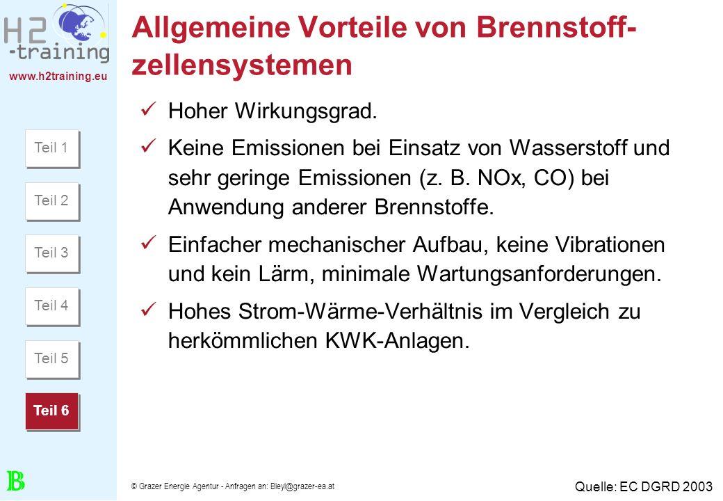 www.h2training.eu © Grazer Energie Agentur - Anfragen an: Bleyl@grazer-ea.at Allgemeine Vorteile von Brennstoff- zellensystemen Hoher Wirkungsgrad. Ke