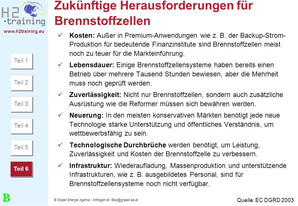 www.h2training.eu © Grazer Energie Agentur - Anfragen an: Bleyl@grazer-ea.at Zukünftige Herausforderungen für Brennstoffzellen Kosten: Außer in Premiu