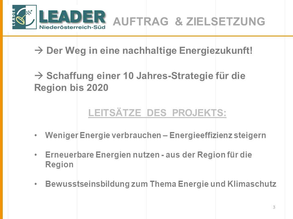 3 AUFTRAG & ZIELSETZUNG Der Weg in eine nachhaltige Energiezukunft! Schaffung einer 10 Jahres-Strategie für die Region bis 2020 LEITSÄTZE DES PROJEKTS