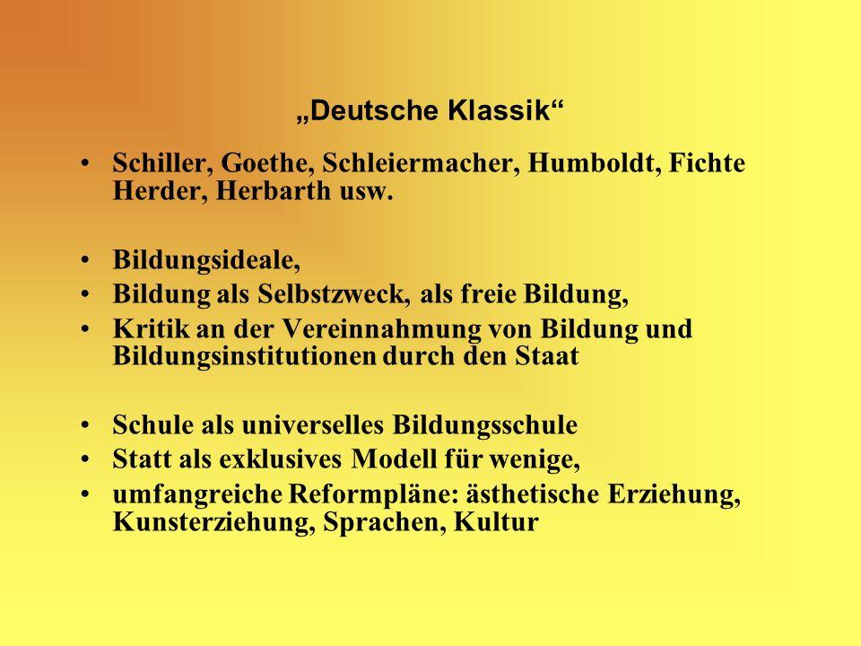 Deutsche Klassik Schiller, Goethe, Schleiermacher, Humboldt, Fichte Herder, Herbarth usw.