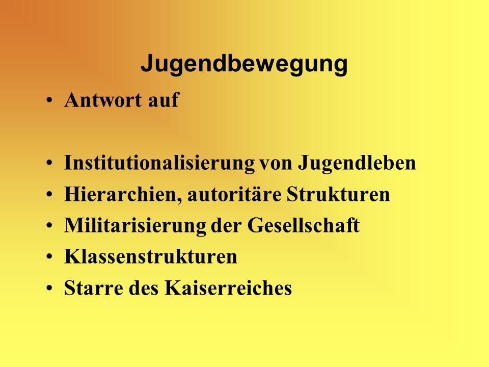 Jugendbewegung Antwort auf Institutionalisierung von Jugendleben Hierarchien, autoritäre Strukturen Militarisierung der Gesellschaft Klassenstrukturen Starre des Kaiserreiches